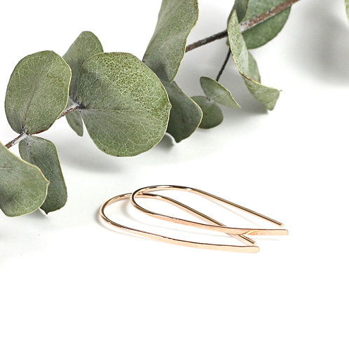Hammered Wire Earrings Rose Gold
