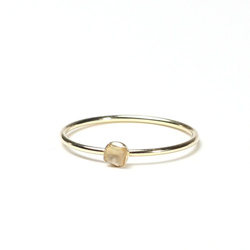 Raw Stone Stacking Ring - Gold