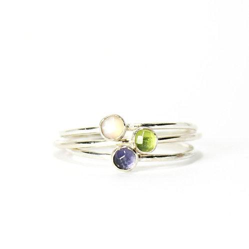 Gemstone Stacking Ring - Silver