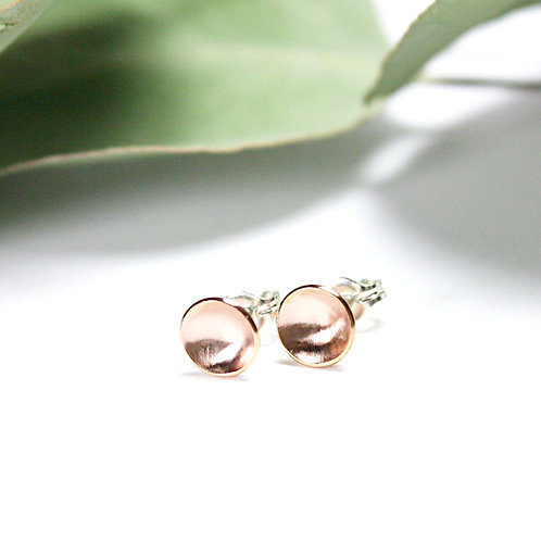 Rose Gold-Filled Concave Studs