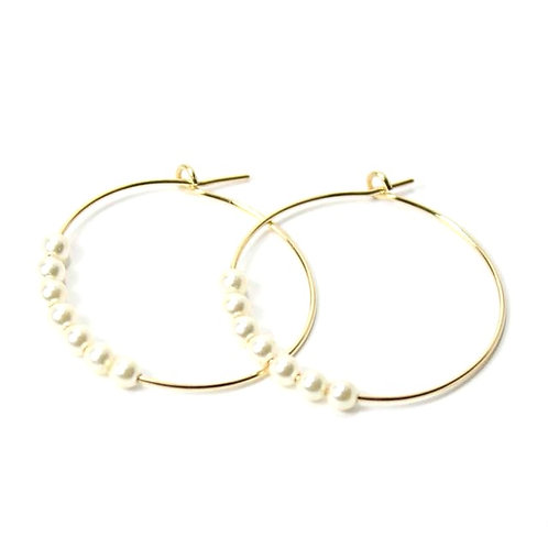 Gold Pearl Hoops