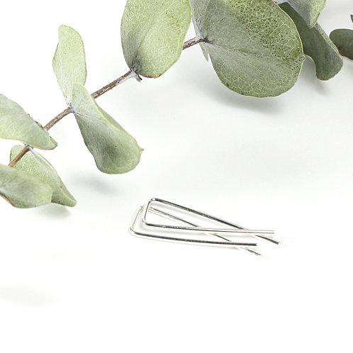 Square Ribbon Earrings Silver