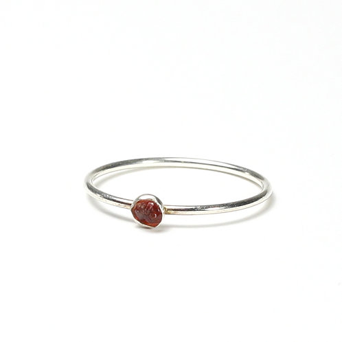 Raw Stone Stacking Ring - Silver