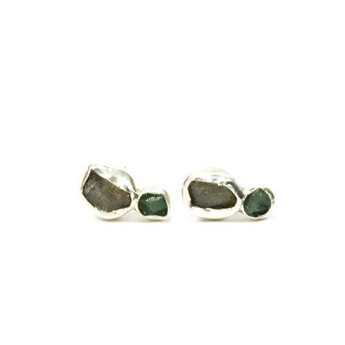 Labradorite Emerald Studs
