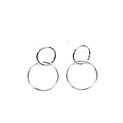 Silver Double Circle Dangle