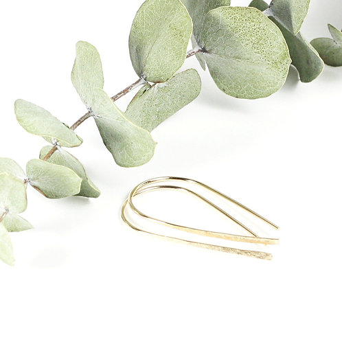 Hammered Wire Earrings Gold