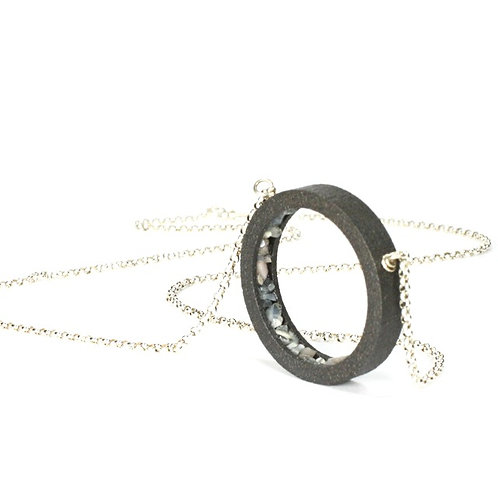 Aquamarine Black Steel Pendant