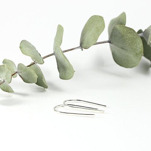 Mini Hammered Ribbon Earrings Silver