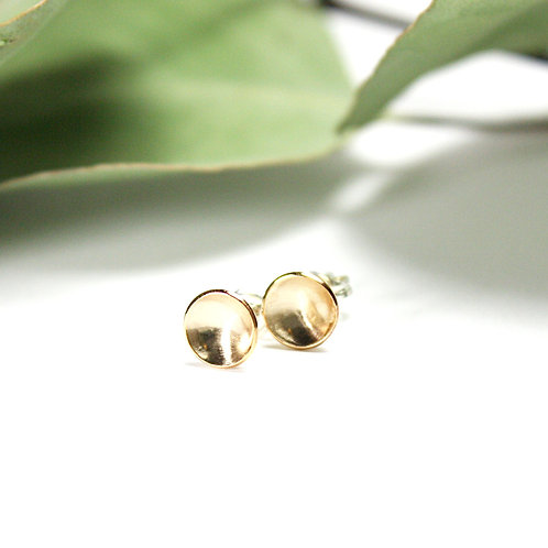 Yellow Gold-Filled Concaved Studs