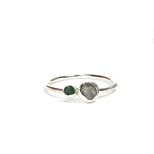 Raw Stone Double Stone Ring