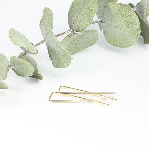 Square Ribbon Earrings Gold