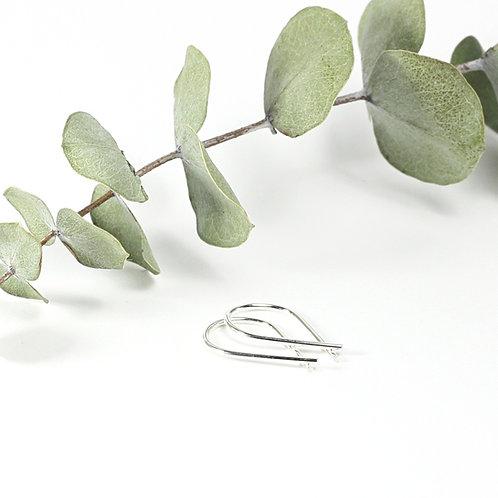 Mini Ribbon Earrings Silver