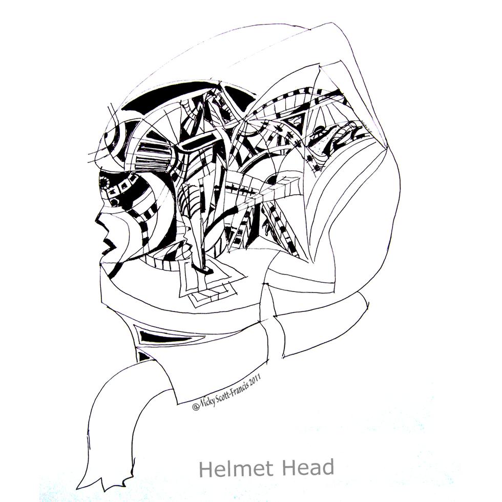 'HELMET HEAD'  Ballpoint pen drawing on A4 size paper.  Ballpoint pen drawing on A4 size paper