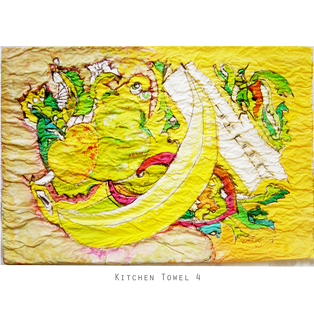 KITCHEN TOWEL 4 Medium: biro, watercolour, kitchen towel