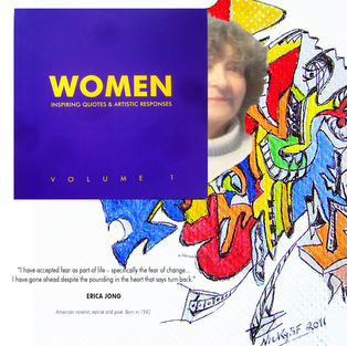 'WOMEN Volume 1 '  book of 12 women artists. Montage, including book cover, Erica Jong quote, portrait and 'Kitchen Towel 3'