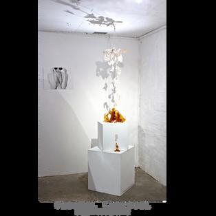 CARAMEL CAROUSEL SUGAR SCULPTURE Whiteout Exhibition, 100 Years Gallery Medium: caramellised sugar, canvas, paint, string, sodden spoons, gllitter