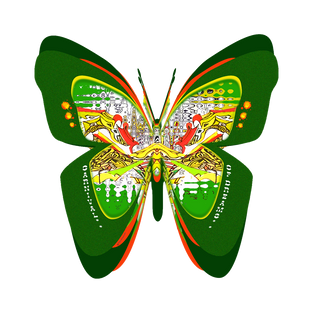 CARNIVAL OF DREAMS - Montage : green butterfly logo template