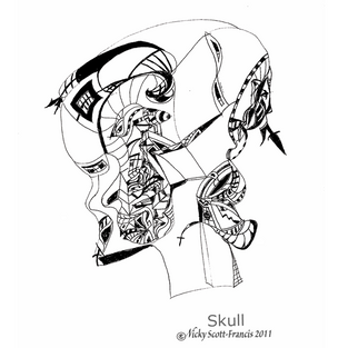 'SKULL'  Ballpoint pen drawing  on A4 size paper