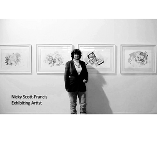 DUGOUT FESTIVAL - group exhibition including 4 biro & watercolour artworks