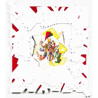 JIGSAW EXPERIMENT 3 Medium:- biro, paint, paper, cardboard, jigsaw, drawing pins. SIZE: 55cm wide x 50cm high (21 x 19 inches)
