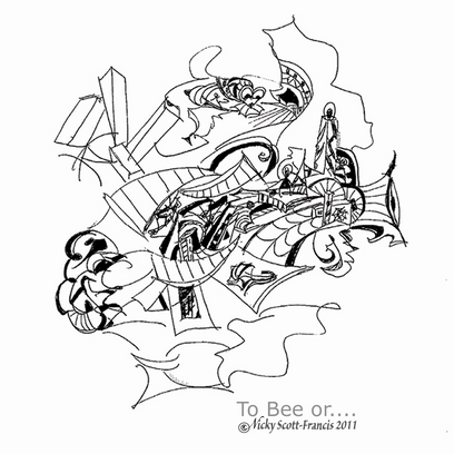 'TO BEE OR....'  Ballpoint pen drawing on A4 size paper