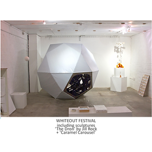 WHITEOUT EXHIBITION WITH DRON + CARAMEL CAROUSEL SCULPTURE