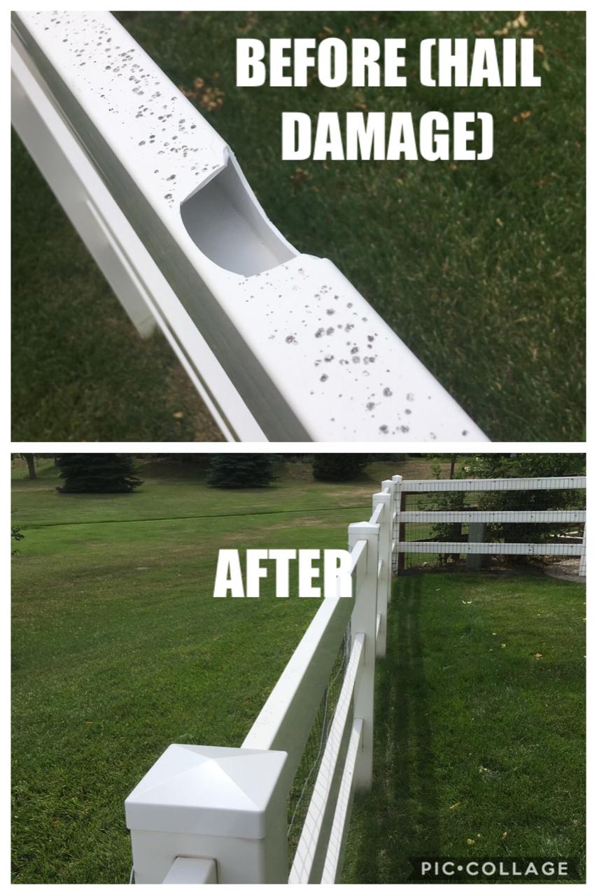 Vinyl Fence Repair - Hail Damage - Loveland