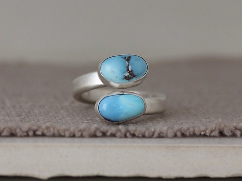 CHUNKY GOLDEN HILLS TURQUOISE RING - SIZE 7