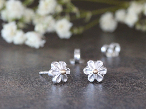 LITTLE BLOSSOM STUDS WITH 9KT GOLD DETAIL