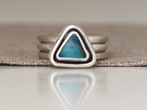 CHUNKY AUSTRALIAN BOULDER OPAL RING WITH STACKING RINGS - SIZE 7