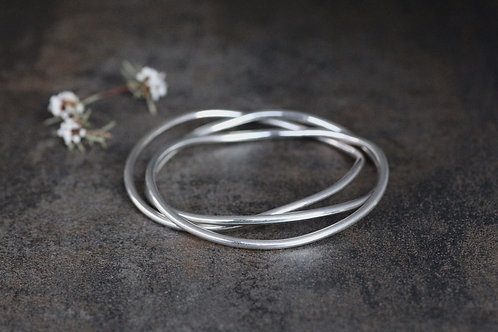 ORGANIC SOLID STERLING SILVER BANGLE