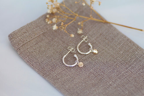 MINI HOOP STUDS WITH 9KT GOLD DISKS