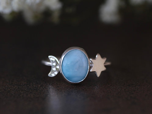 CUSTOM ORDER FOR MAISON - LARIMAR GEMSTONE RING WITH MOON AND STAR