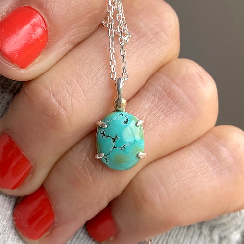NATURAL TIBETAN TURQUOISE NECKLACE WITH 9KT GOLD DETAIL