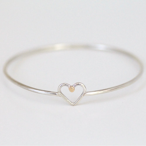 LOUISA HEART BANGLE WITH 9KT GOLD DETAIL