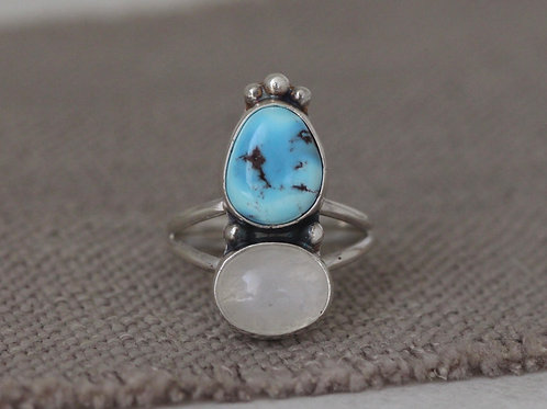 GOLDEN HILLS TURQUOISE & MOONSTONE RING - SIZE 6.5
