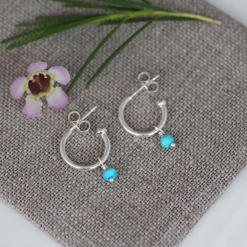 MINI HOOP STUDS WITH GEMSTONE BEADS