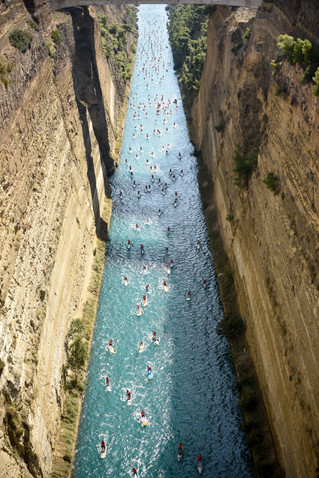 8th Annual Corinth Canal SUP Crossing Draws Huge International Field