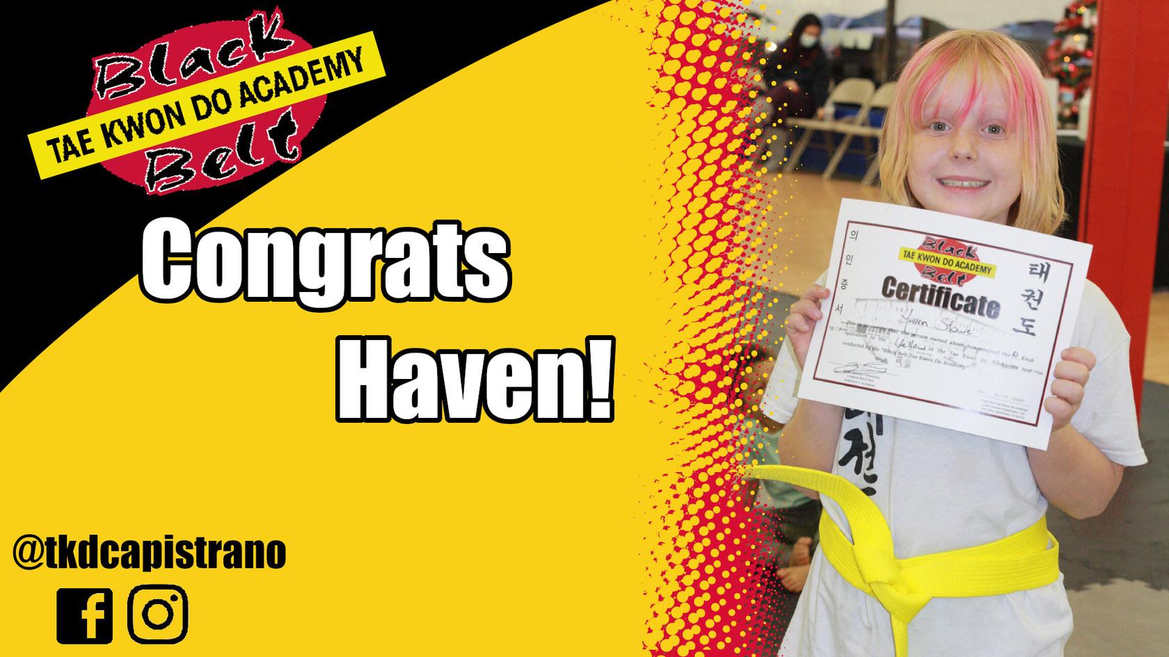 Congrats Haven!