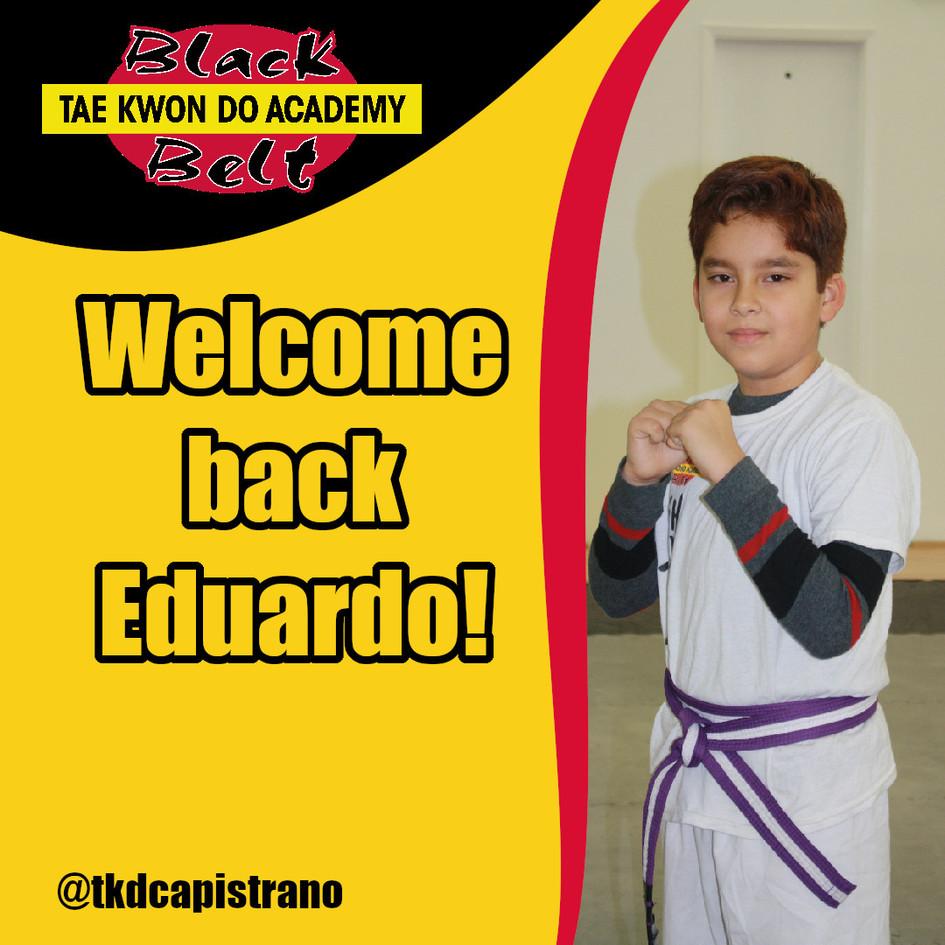Welcome back Eduardo