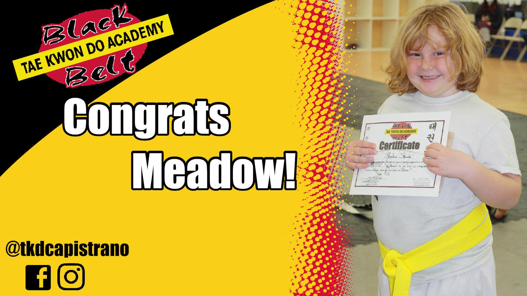 Congrats Meadow!
