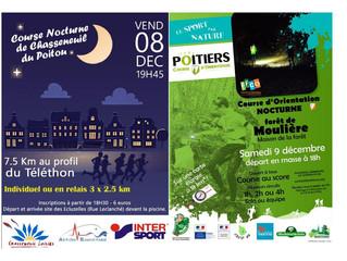 Course du Téléthon à Chasseneuil de Poitou et Course d'Orientation de la Forêt de Moulière