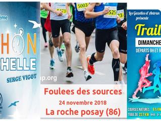Foulées des Sources à la Roche-Posay / Trail de la Rose à Antran / Marathon de la Rochelle - 24 et 2