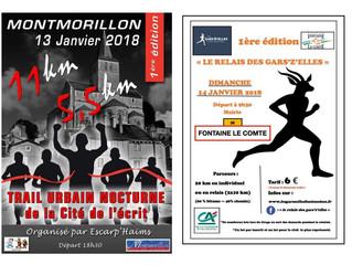 Trail nocturne à Montmorillon 13/01/18 et Relais des Gar'Z'Elles à Fontaine le Comte 14/01/1