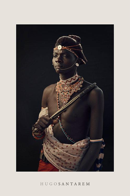 Poster. Guerreiro da tribo Samburu. Kenya.  Parte da série Interior.