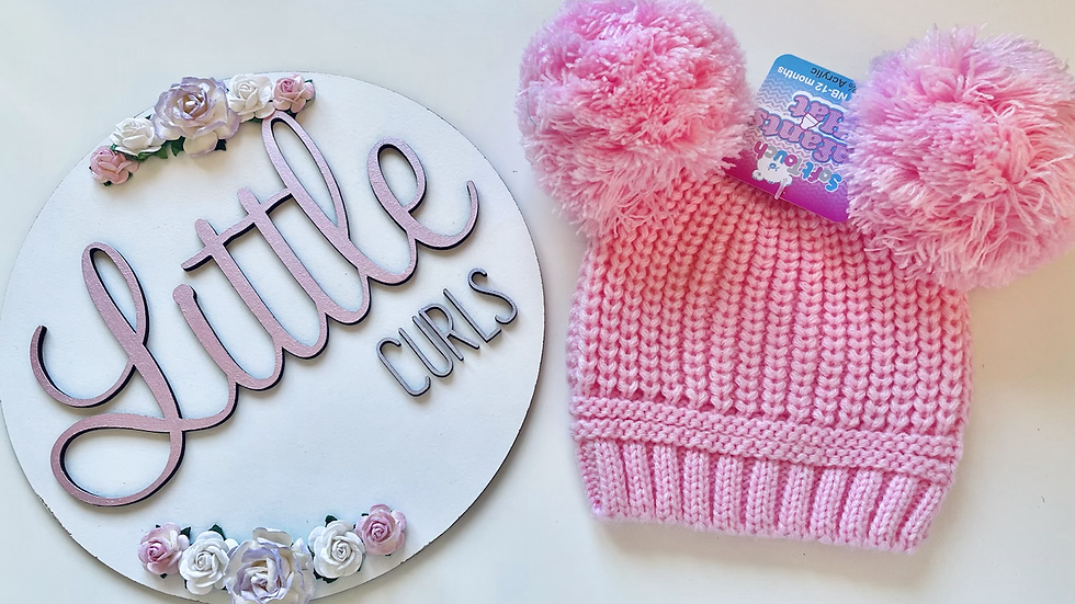 Pink double Pom hat 0/6M