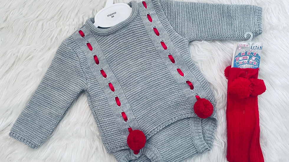 Grey and Red Pom Knitted Set