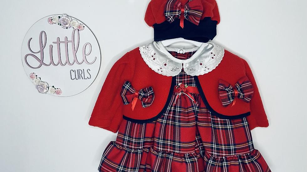 Red tartan dress cardigan & hat