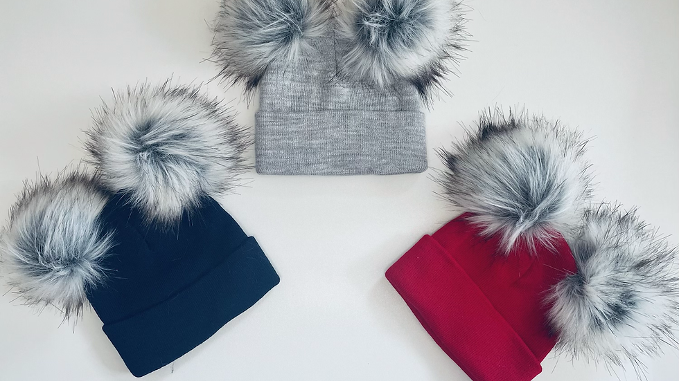 Double Pom Fur Hats 12M to 3yrs