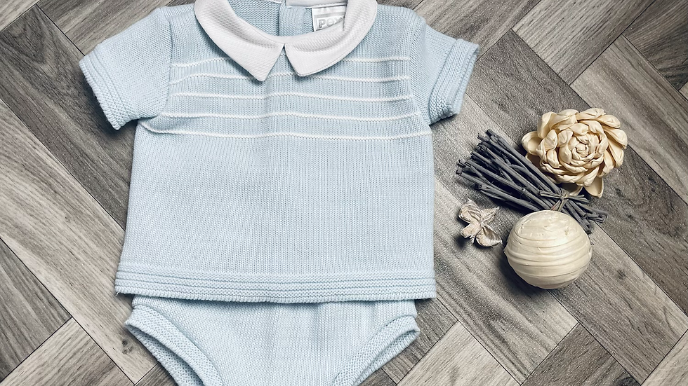 Blue knitted 2 piece